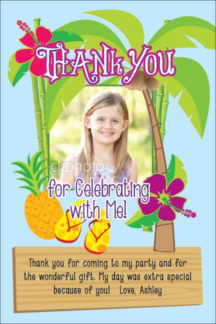 luau tropical thank you card invitation printable st birthday, Birthday card