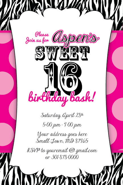 sweet 16 zebra print invitation birthday party baby shower 1st hot, Birthday invitations