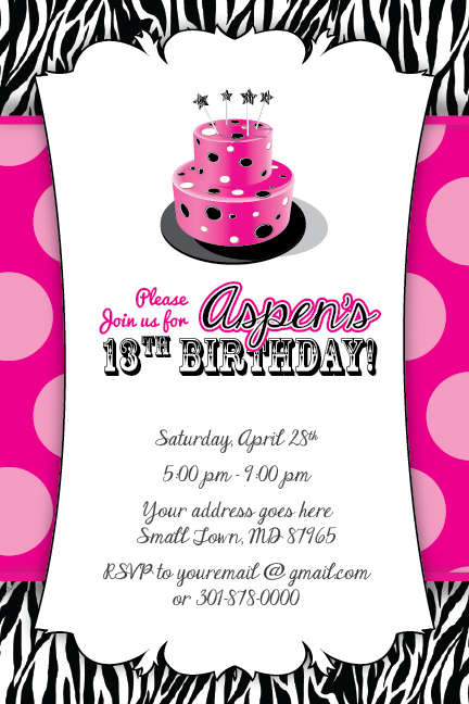 zebra print cake invitation 13th birthday party baby shower 16th, Birthday invitations