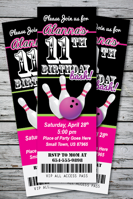 BOWLING Birthday Party Invitation TICKET Stub Any Age or Color – Party Ticket Invitations