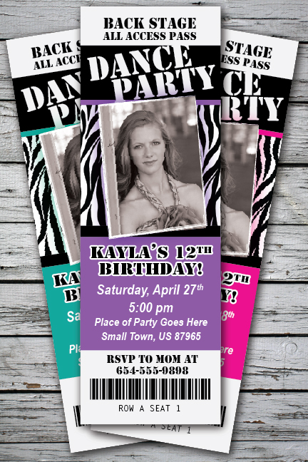 DANCE PARTY Zebra Print Invitation TICKET Stub Rock Star Band – Party Ticket Invitations
