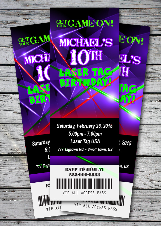 LASER TAG GLOW NEON Birthday Party Invitation TICKET Stub ...