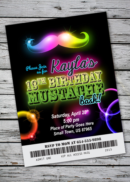 mustache bash glow in the dark theme birthday party invitation, Party invitations