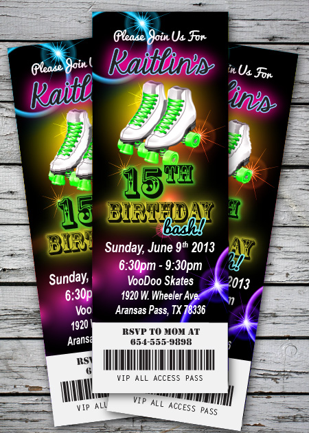 roller skating glow neon birthday party invitation ticket stub, Party invitations