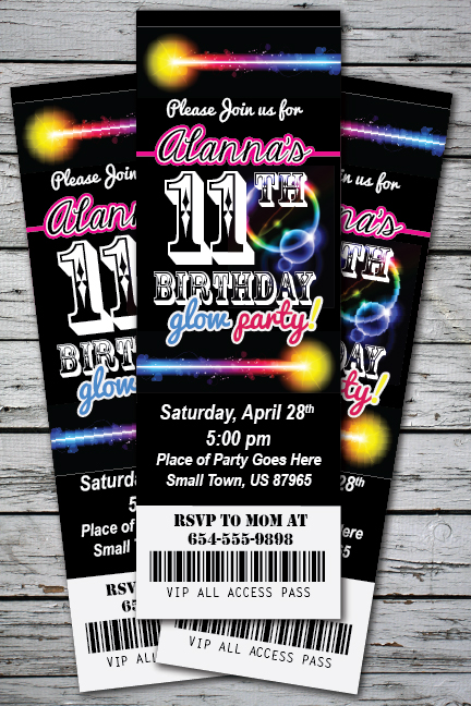 glow birthday party invitation ticket stub neon bracelet necklace, Party invitations