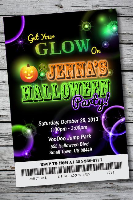 GLOW IN THE DARK Halloween Party Invitation Ticket NEON Birthday – Glow Party Invites