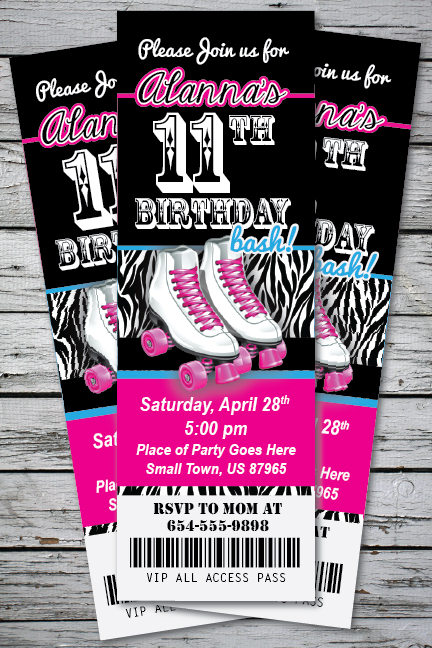 roller skating zebra print birthday party invitation ticket stub, Birthday invitations