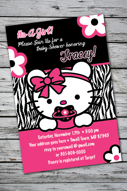 teddy zebra print printable baby shower party invitation girlst, Baby shower invitation