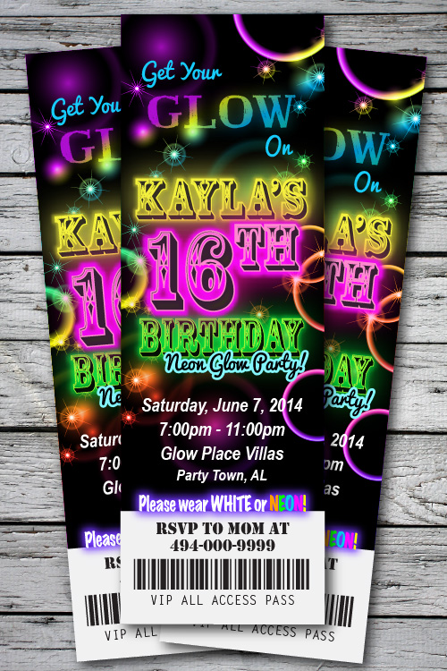 Sweet 16th GLOW in the Dark Theme NEON DISCO Birthday Party – Party Ticket Invitations